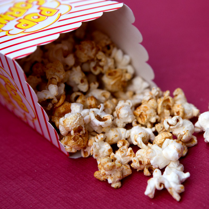 In addition to traditional popcorn, freshly made on site, we can create a themed or specific menu to enhance your open air cinema event